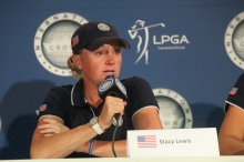 U.S. golfer Stacy Lewis talks to media after first match of 2014 International Crown.