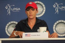 U.S. golfer Cristie Kerr sits at the podium at the 2014 International Crown. Aaron Saunders/ClubHouseAceS